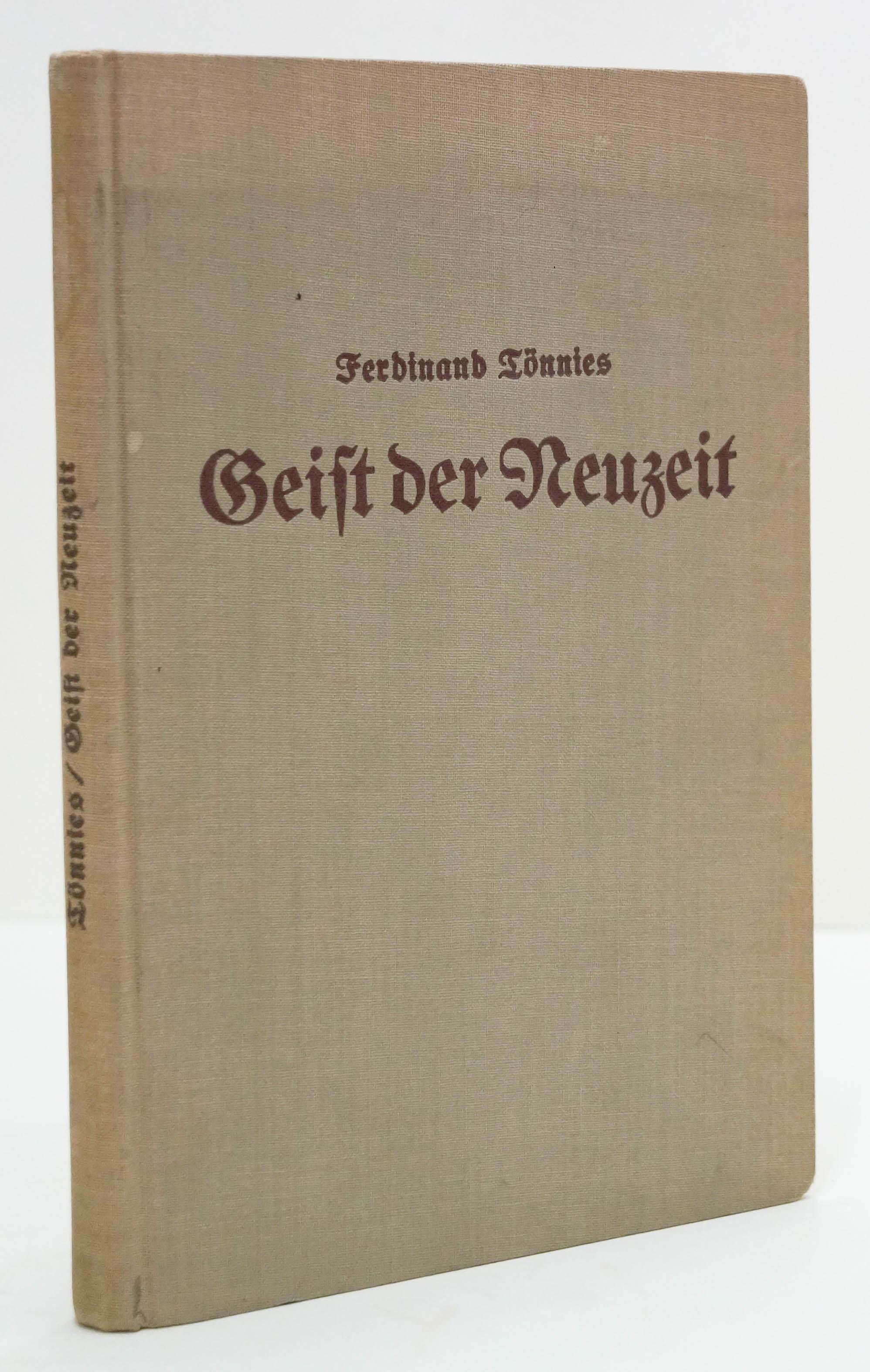 TÖNNIES, F. - Geist der Neuzeit.